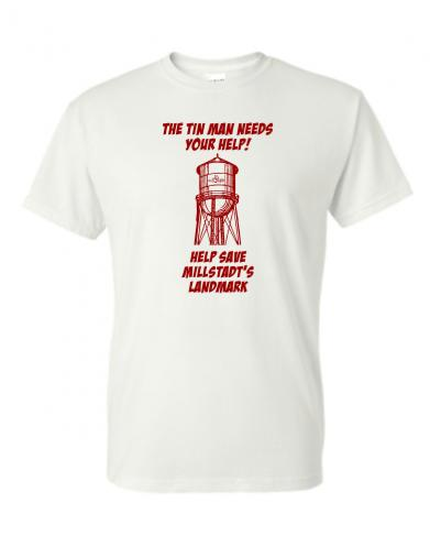 Millstadt-Water-Tower-tin-Man-donation-gift-T-shirt